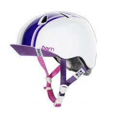 Bern Nina Kids Bike Helmet Gloss White- Racing Stripe- New!