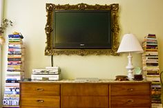 totally doing this with my tv... screen, tv frames, guest bedrooms, new room, flat, a frame, old frames, tvs, picture frames