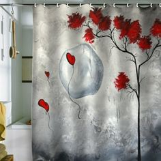 Red Shower Curtains On Pinterest