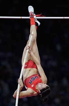Jennifer Suhr wins the 2012 Summer Olympics gold medal for pole vault. 15' 7""