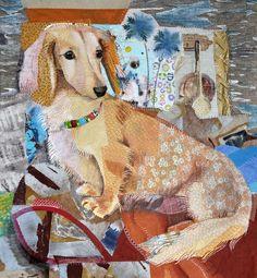 """""""Frankie"""" by Leslie Gabriëlse.  Dog portrait quilt, fabric plus paint"""