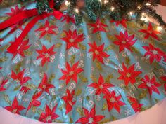 Vintage Christmas Tree Skirt ~ Blue w/ Poinsettia's