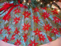 Vintage Christmas Tree Skirt ~ Blue w/ Poinsettia's