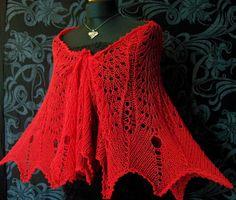 Red lace shawl FESTIVAL. $150.00, via Etsy.