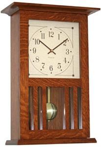 Amish Mission Clock handcrafted by skilled Amish woodcrafters in Ohio. Built to last a lifetime, this quartz clock will be treasured for generations. This clock can be hung from a wall or set on a mantel. This Amish made clock chimes every 15 minutes and includes a volume control and night silencer so it doesn't have to disturb your sleep. This quality wall clock is backed with a 5-year warranty. Lead Time: Approximately 8 weeks. $235.10