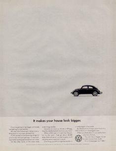 """1964 Volkswagen Beetle original vintage advertisement. """"It makes your house look bigger."""""""