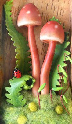 shadowbox paper mache mushrooms, woodland scene, diorama, ladybug art sculpture