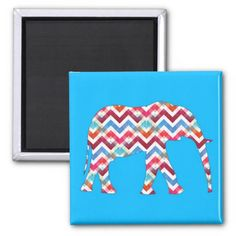 Funky Zigzag Chevron Elephant on Teal Blue Refrigerator Magnet