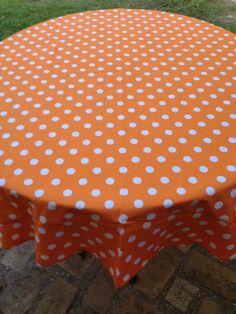 """60"""" Orange With White Polka Dot Round Table Cloth"""