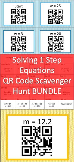 3 Complete QR code scavenger hunts to help your students learn to solve one step equations.  Start with addition and subtraction equations and progress to multiplication and division when your students are ready!  Three full scavenger hunts for one low price!