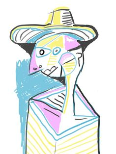 """Person with Hat"", 2013, Matt Vaillette — #primitive #digital #digitalart #primitivism #cubism #abstract #portrait #art"