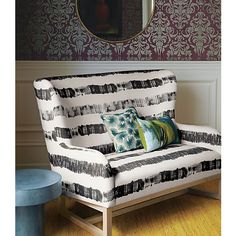 suitor graphite stripe loveseat in sofas | CB2