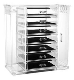 Acrylic Deluxe Jewel Box - 7-Drawer Jewelry Chest With Necklace Keeper