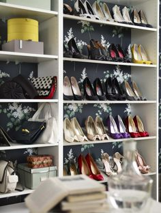 IKEA bedroom storage - Organize your shoes into neat rows in an open PAX wardrobe with shelves (DIY'd with pretty wallpaper!) and make getting ready everyday feel like a trip to your favorite shoe store.