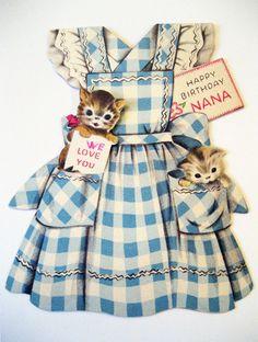 Vintage Birthday Card kitty apron