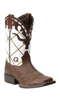Ariat Kids Dakota Dogger Brown Crinkle with White Diamond Stitch Top Square Toe Western Boots