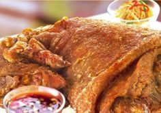 Crispy Pata – a perfect combination of texture and flavor, a crunchy deep fried pork leg made initially by poaching. Has an intense satisfying flavor of meat and rich fat marbling.