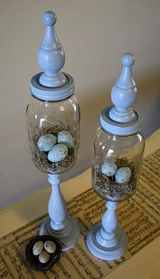 Apothecary jars made out of mason jars, candlesticks and a finial