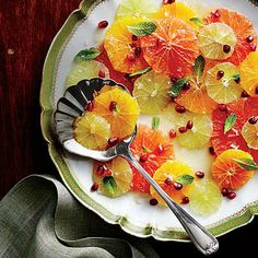 Citrus Salad with Spiced Honey | Use any combination of citrus on hand to compose this vibrant, fresh salad, and present it however you like. No matter how you serve it, sweet and sunny citrus complements any roast or fish. | SouthernLiving.com
