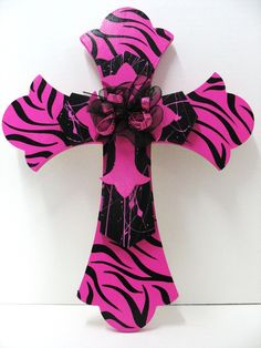Triple Cross Hot Pink Zebra and Black by TWOPINKDOTS on Etsy, $26.95