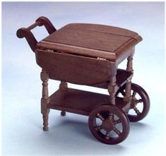walnut drop leaf tea cart