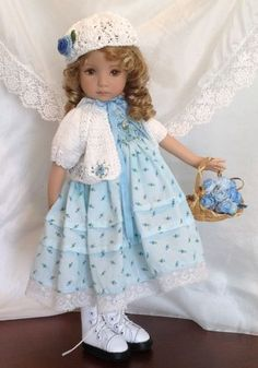 """Smocked Outfit with Boots Shoes for Dianna Effner 13"""" Little Darling Dolls 