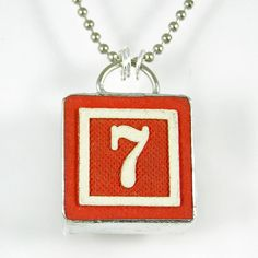 Number 7 Pendant by XOHandworks $20 lucki number, pendant