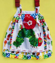 Very Hungry Caterpillar Apron Knot  Dress by WildOliveKids on Etsy