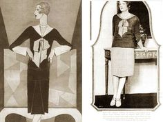 The major designers in modernist fashions included Chanel, Lanvin ( who always seemed to be a step ahead of the younger ones) and new surrealist designers like Elsa Schiaparelli ( who first splashed on to the fashion scene in 1927 with her trompe l'oeil bow sweater) #Downton #Fashion