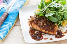 Maple & Ginger Glazed Salmon with Watercress, Orange and Parsnip Salad - use gluten free soy sauce and skip the maple syrup if you're in the 21-day phase...