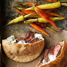 Steak-and-Tzatziki Sandwiches with Roasted Carrots and Dill #recipe