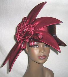 Elegant Wine Color Women's Church Hat