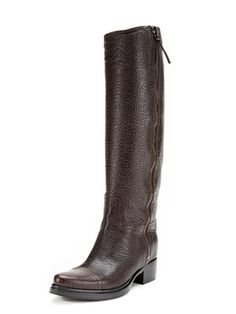 Textured Leather Zip Riding Boots
