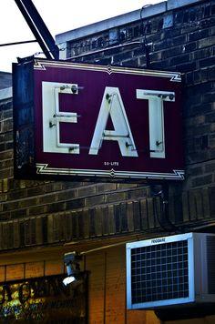 sign idea, letter, neon signs, ole vintag, signage, signag design, eat sign, metal sign, diner