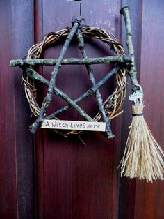 "Witch Pentacle Vine / Oak Twig Pentagram Wreath by PositivelyPagan...  this would be and easy ""witch-craft"" to make for my front door.  :) witch pagan craft inspiration"