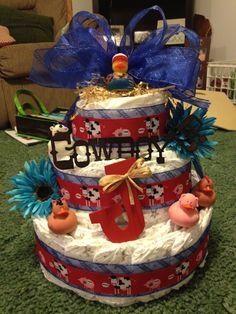 Cowboy Diaper Cake! cake idea, cowboy diaper, diaper cakes