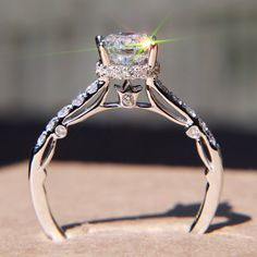 EXQUISITE!! Diamond Engagement Ring    Wow this is perfectttt. Love the color, love the cut, love the embellishment *swoon*