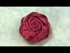 ▶ Ribbon Rose, Tutorial, DIY, Rose Bud How to make - YouTube