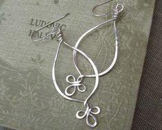 Long Teardrop Sterling Silver Earrings