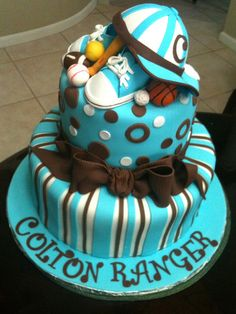 Sports Baby shower cake by sharoncakes, via Flickr