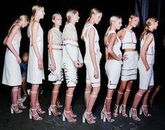 Queued up backstage at Alexander Wang la mode, model, fashion, runway, white, alexand wang, alexander wang, parti, alexanderwang