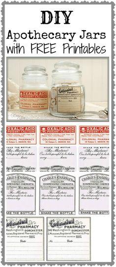free printable vintage label, craft, printable labels, apothecary jars diy, jar labels, diy apothecari, antique printables, printabl label, apothecari jar