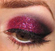 Glitter is my crack...: Dark Pink Glitter Eye Makeup Tutorial