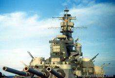 Stern view of battleship USS Alabama (BB-60), World War II.