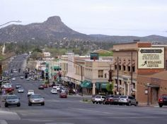 This is Prescott, Az.  The mountain in the background is Thumb Butte.  They tell me it is actually a cinder cone.  I have climbed this mountain because someone carved a trail on the side of it.