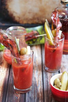 Candied Bacon Bourbon Bloody Mary |  The Girl In The Little Red Kitchen