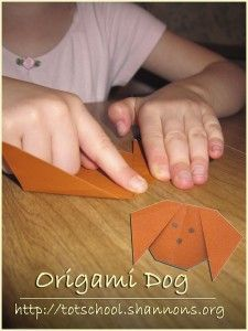 Origami for Kids: Simple Dog - Pinned by @PediaStaff – Please Visit  ht.ly/63sNt for all our pediatric therapy pins