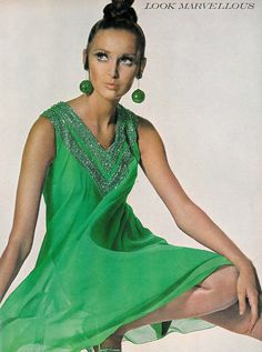 Samantha Jones in an apple-green chiffon dinner dress by Shannon Rodgers for Jerry Silverman, photo by Penn for Vogue, 1967
