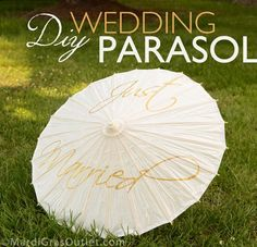 "DIY paint your own ""Just Married"" Wedding Parasol, free template!"