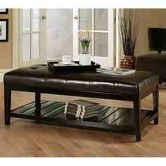 Abbyson Living Manchester Bicast Tufted Leather Coffee Table Ottoman